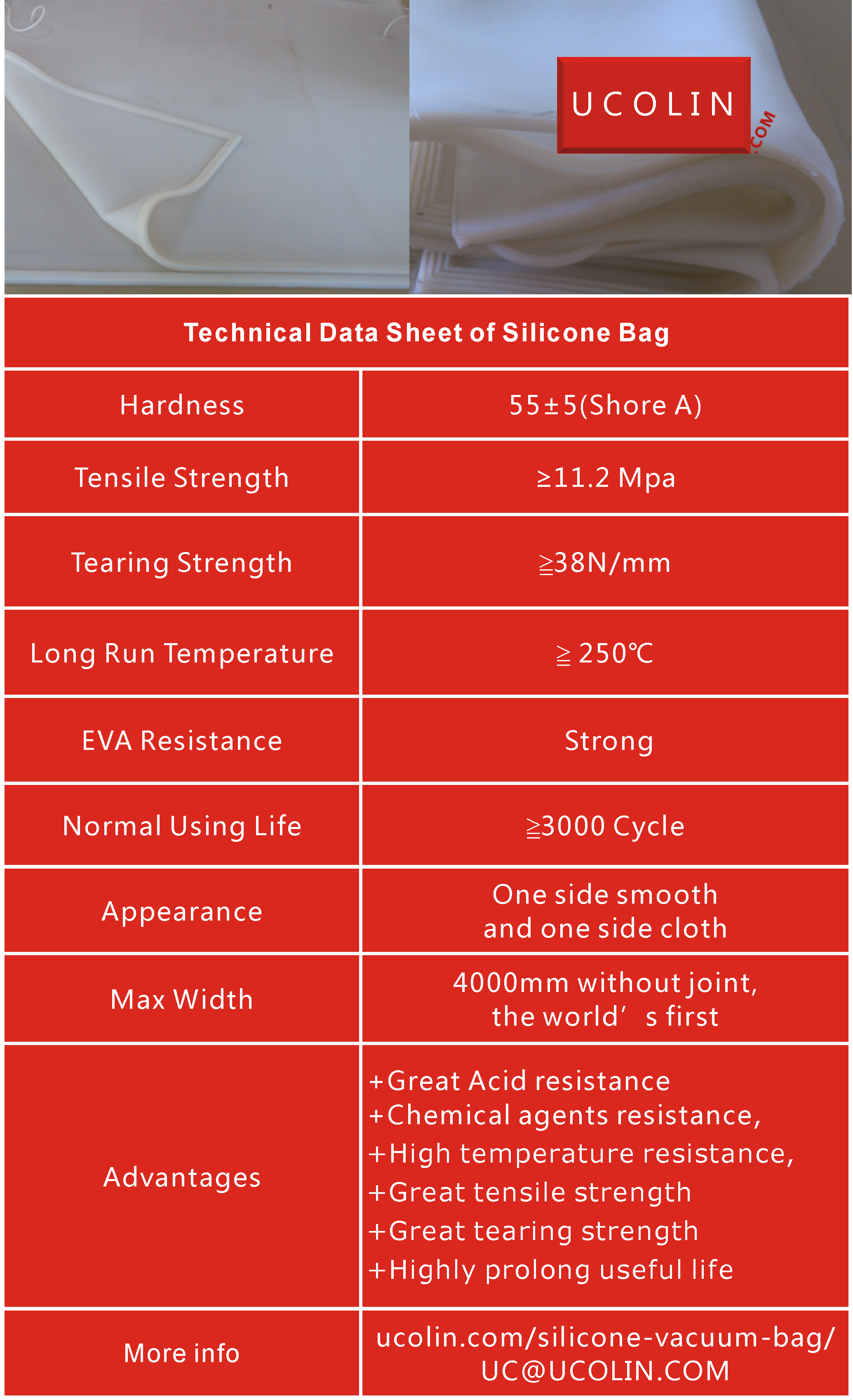 Silicone vacuum bag technical datasheet for laminated glass furnace