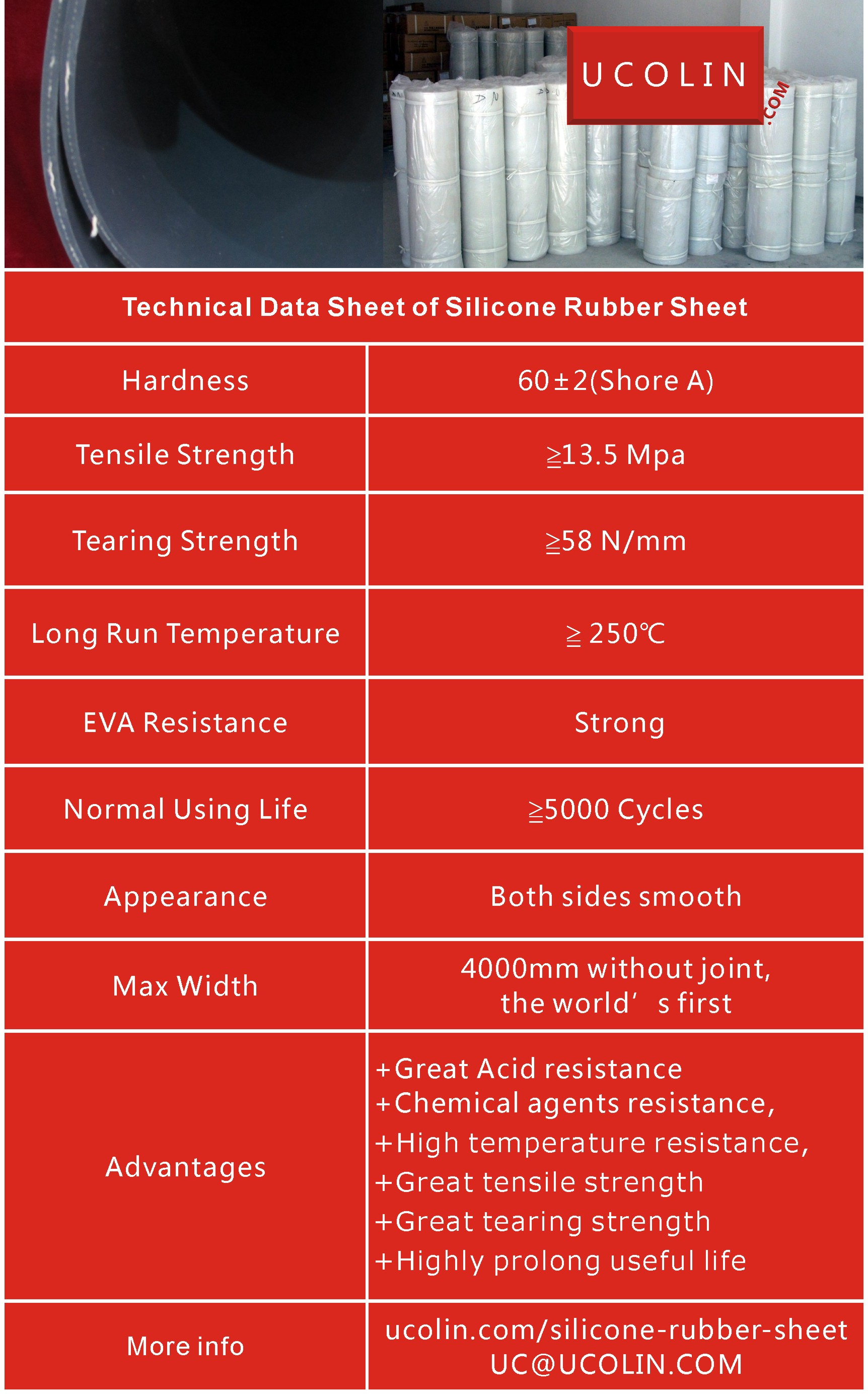 Technical Data of Silicone Rubber Sheet for Solar Laminating  Vacuuming Press