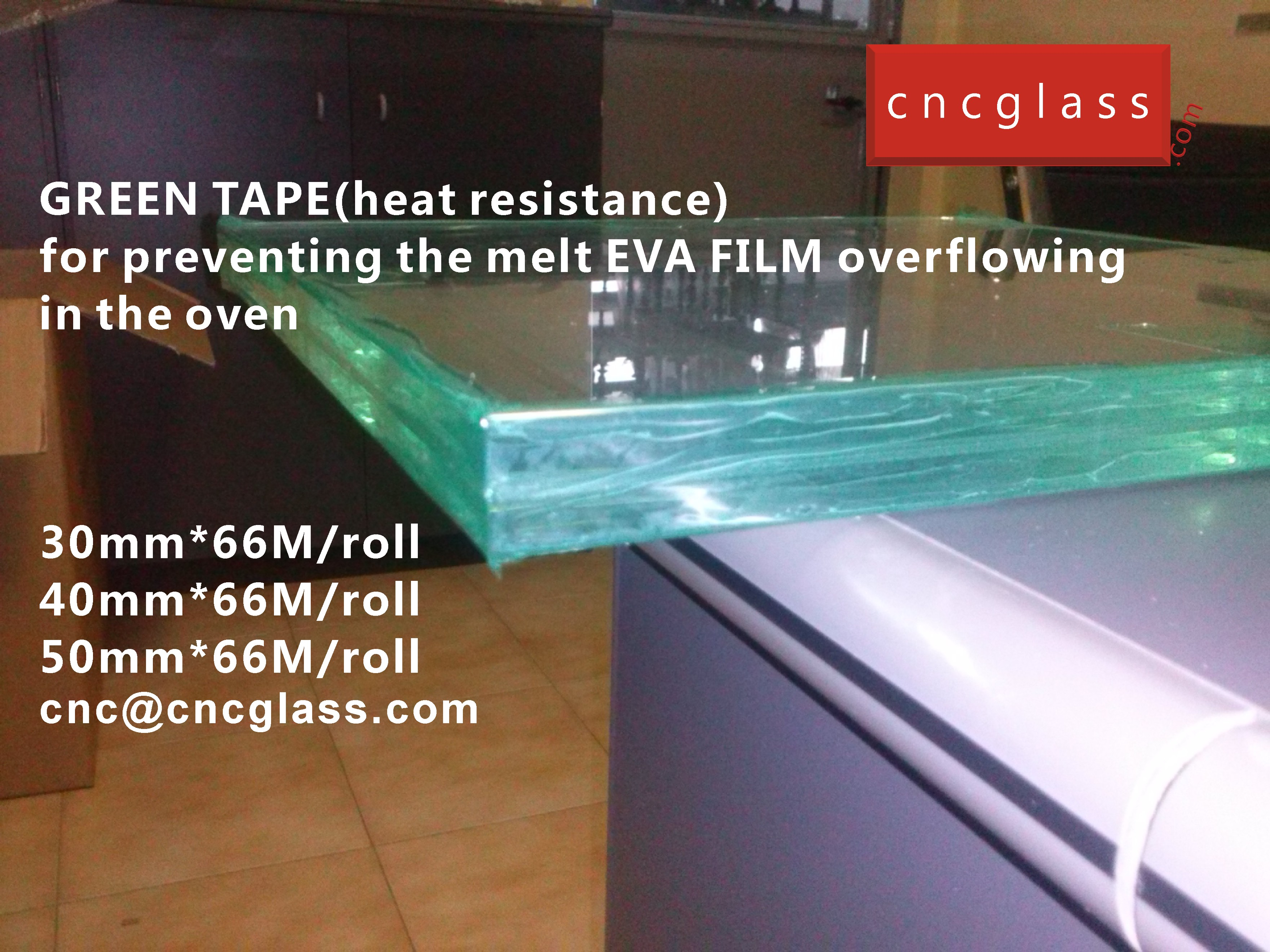01 HOW TO USE GREEN TAPE(HEAT RESISTANCE) IN EVA FILM GLASS LAMINATING
