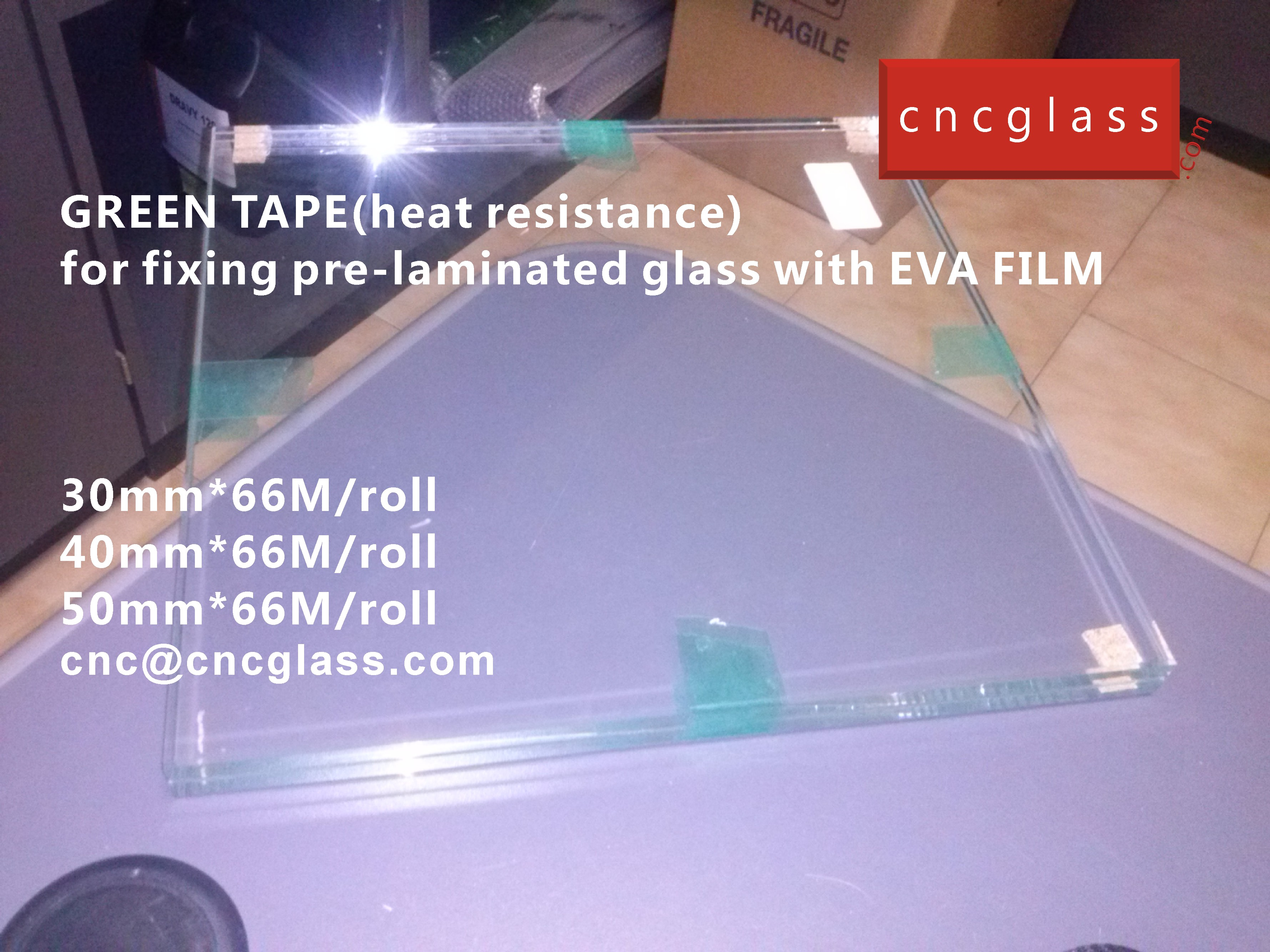 03 HOW TO USE GREEN TAPE(HEAT RESISTANCE) IN EVA FILM GLASS LAMINATING