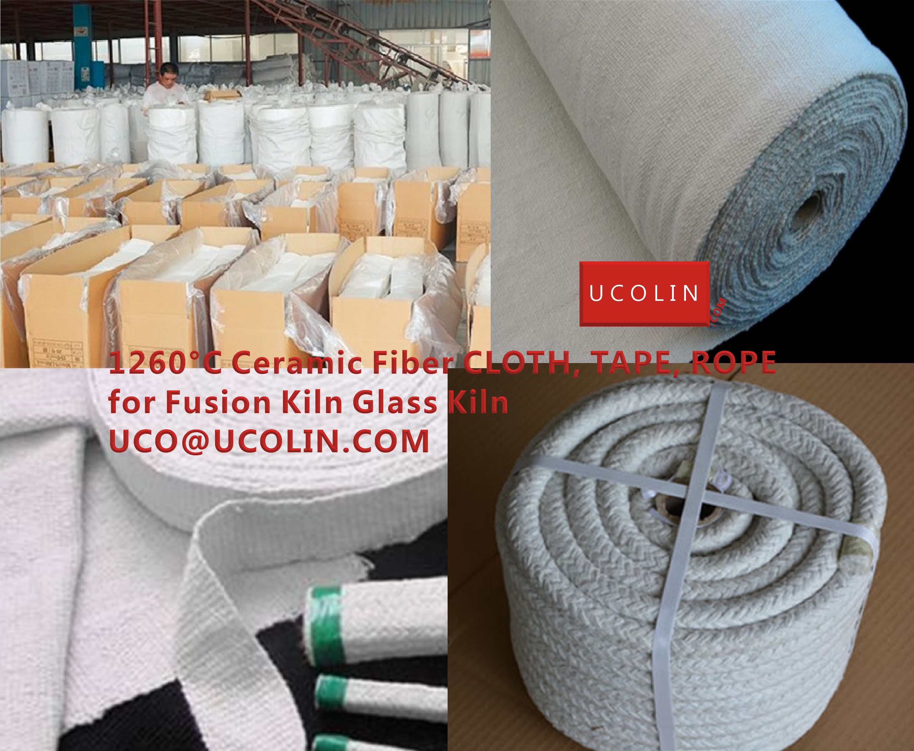 1260°C Ceramic Fiber CLOTH, TAPE, ROPE for Fusion Kiln Glass Kiln