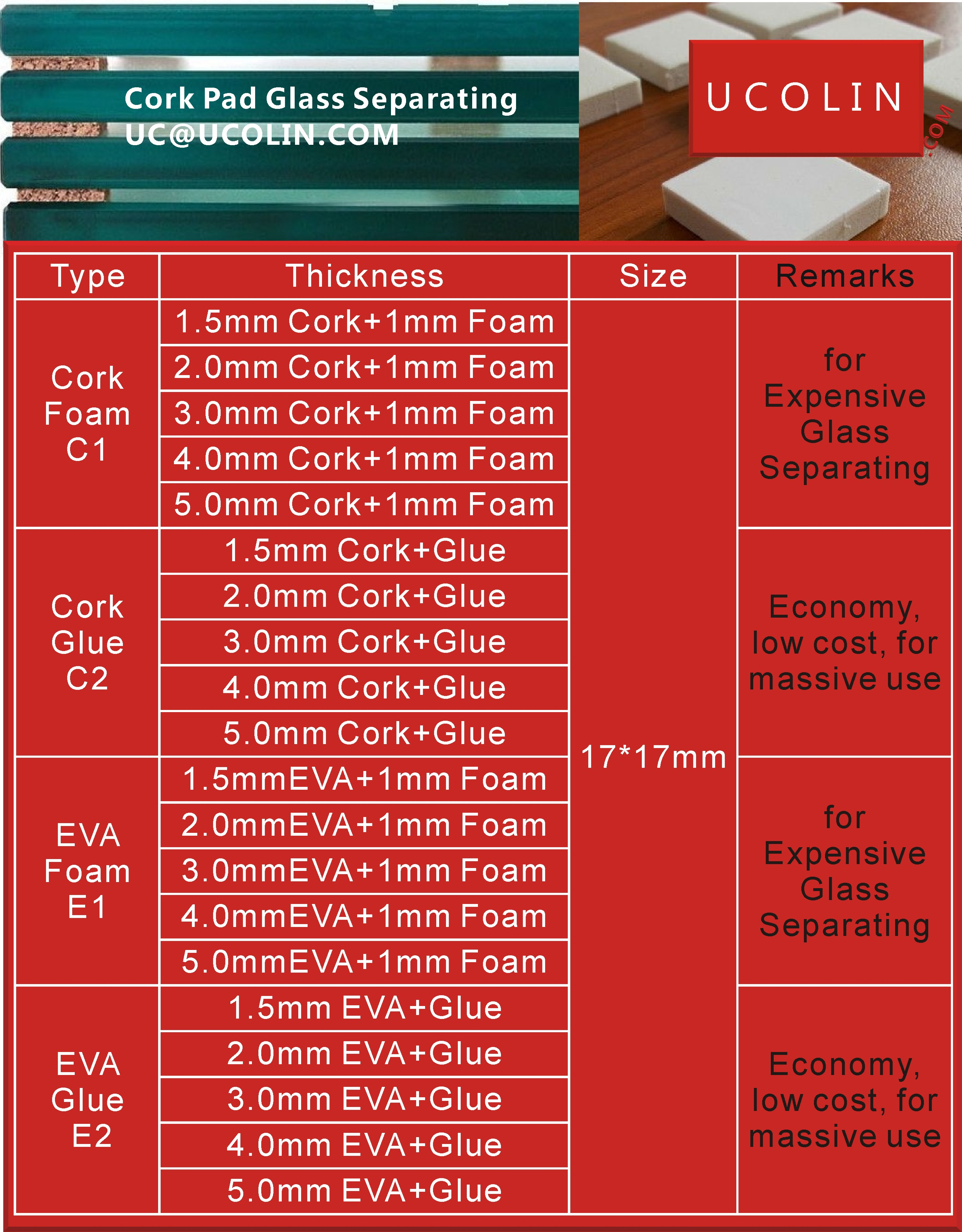Cork Pad for Glass Separating - CATALOG