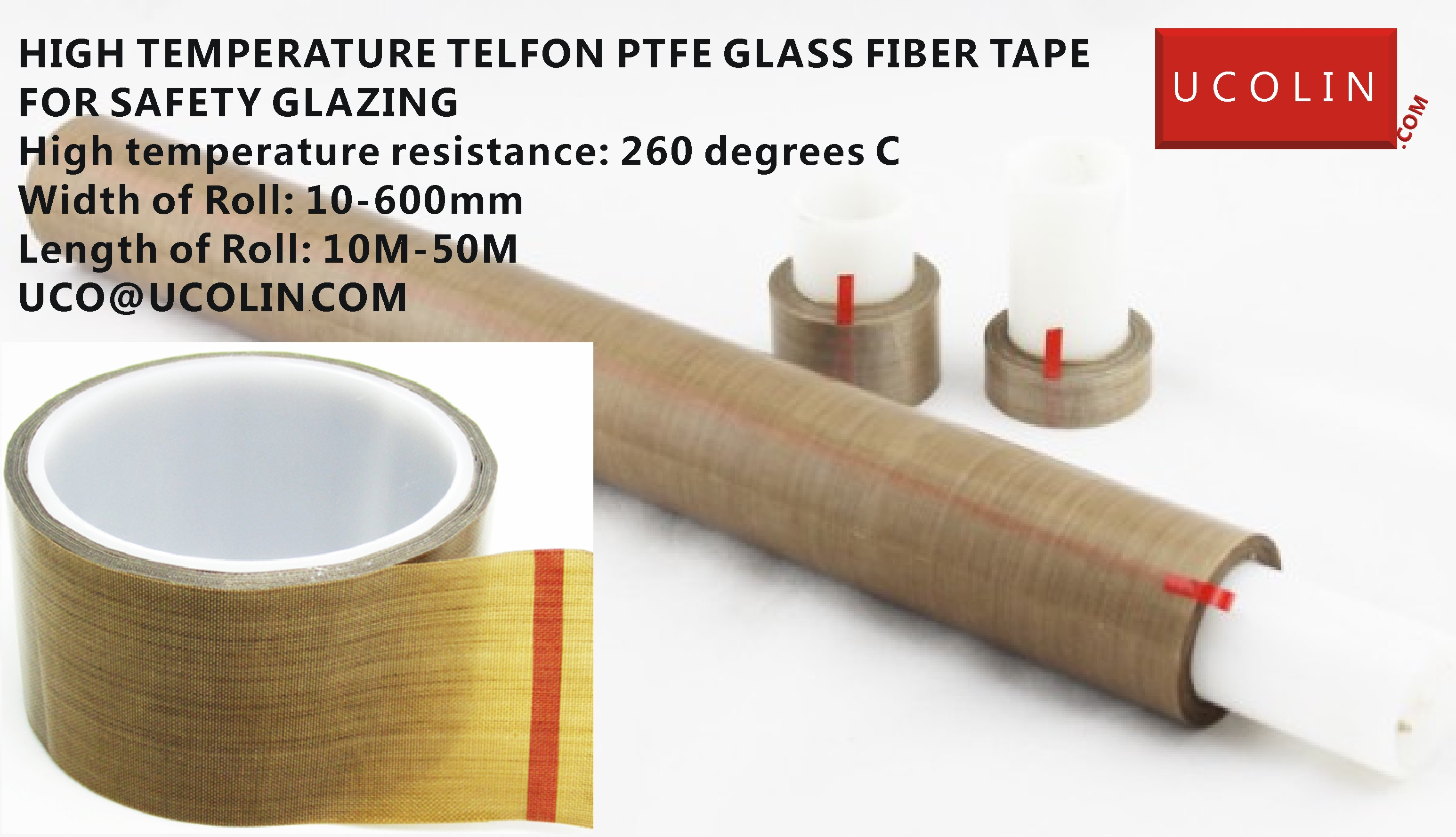 HIGH TEMPERATURE TELFON PTFE GLASS FIBER TAPE FOR SAFETY GLAZING
