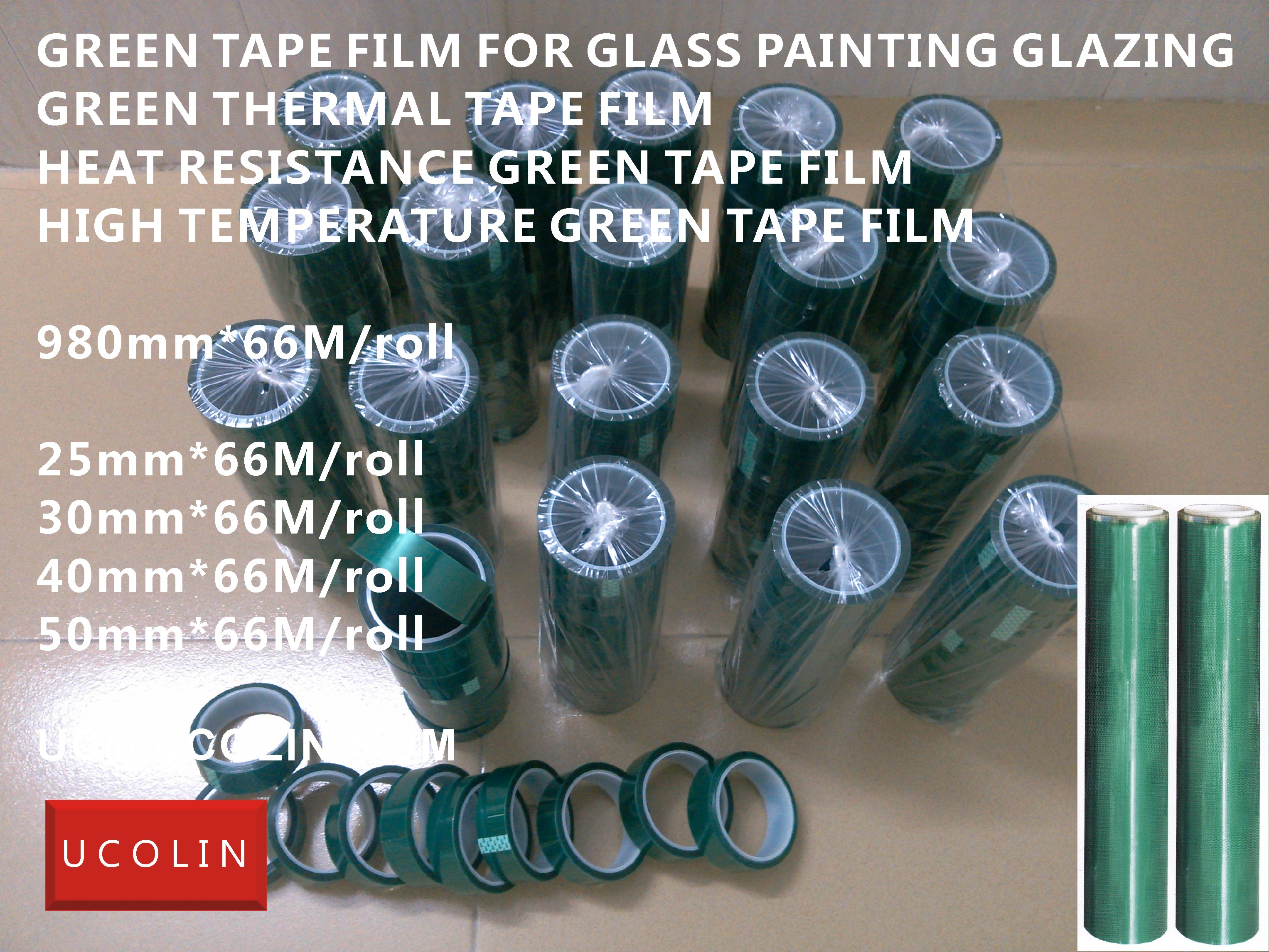Heat Resistance Protective Green Tape Film for Glass Painting Glazing