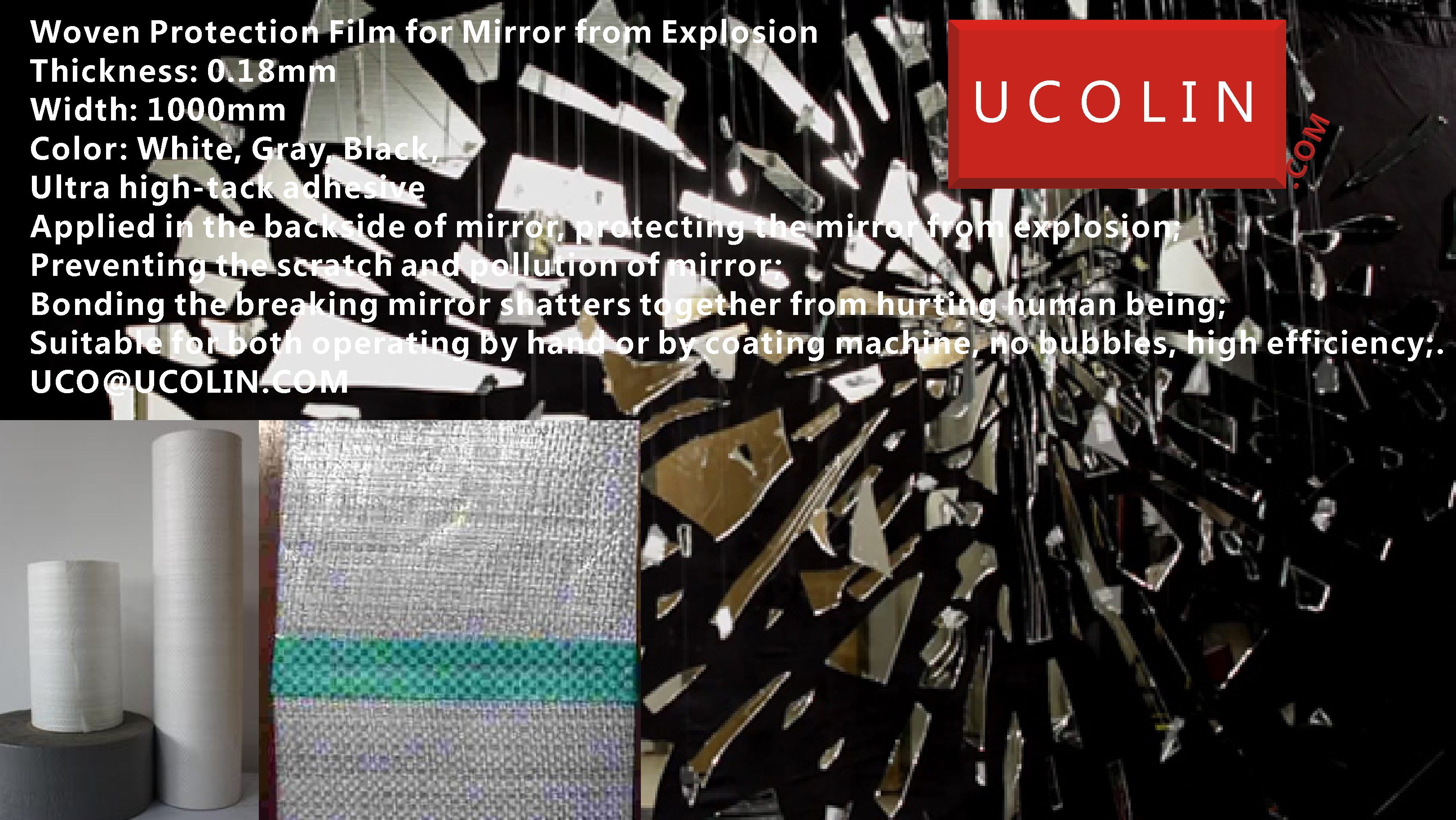 Woven Protection Film for Mirror from Explosion