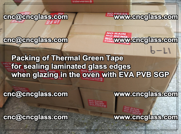 Packing of Thermal Green Tape for sealing laminated glass edges (76)