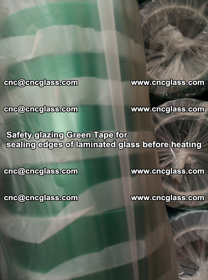 Safety glazing Green Tape for seal edges of laminated glass before heating (62)