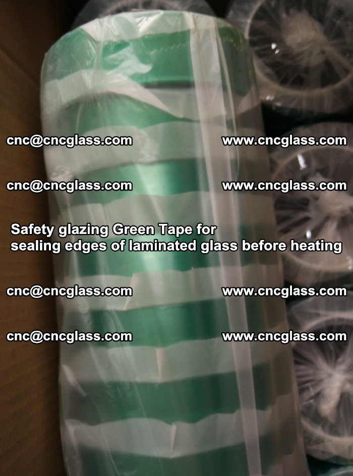 Safety glazing Green Tape for seal edges of laminated glass before heating (67)