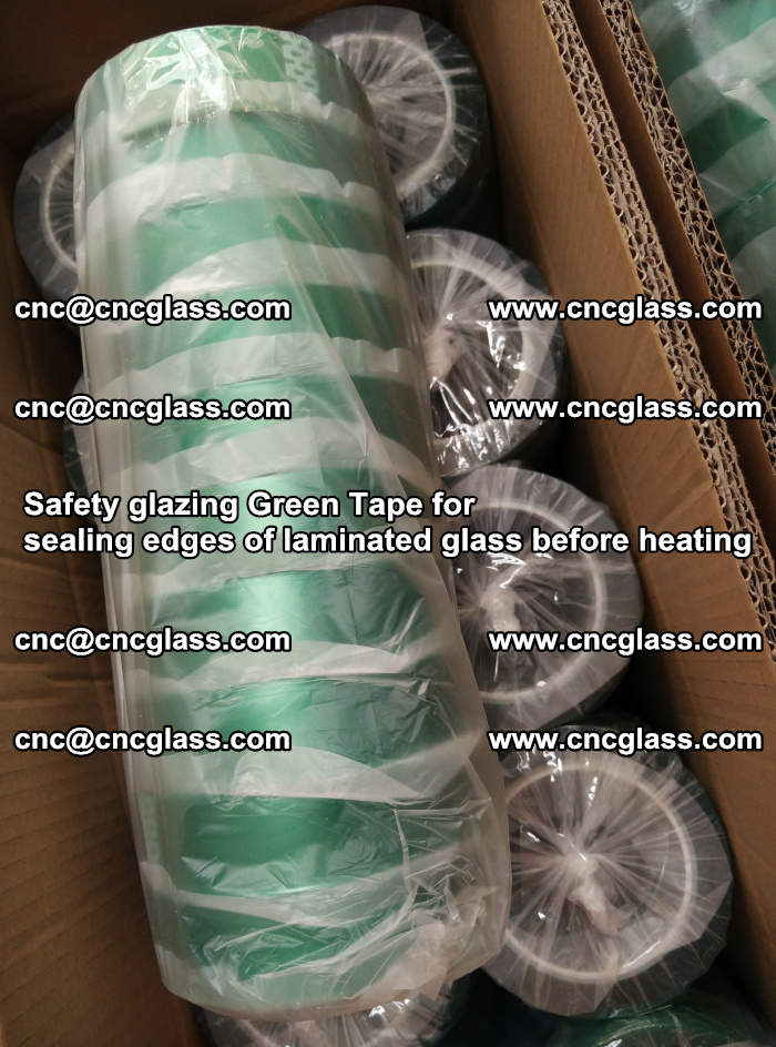 Safety glazing Green Tape for seal edges of laminated glass before heating (70)