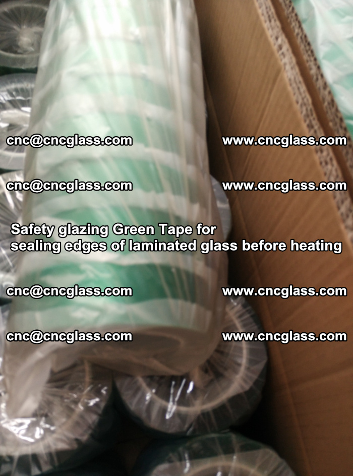 Safety glazing Green Tape for seal edges of laminated glass before heating (77)