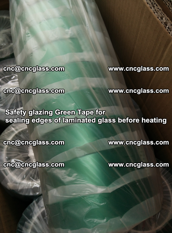 Safety glazing Green Tape for seal edges of laminated glass before heating (86)